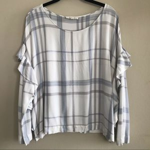 TWO by Vince Camuto Ruffle Sleeve Plaid Blouse XL